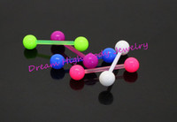 Cheap Newest Neon Flexi Tongue Bars Retainer Bright PIERCING STUD NEW 16MM FLEXIBLE 14G UV Acrylic Body Piercing Jewelry Hot Sale