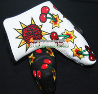 golf bags - New Golf Cover Cherry patterns T Golf Putter HeadCover Black or White Color Putter Clubs Cover