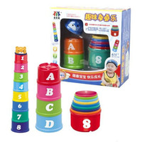 alphabet cups - Freeshipping Colorful stack cup Baby educational toy stacking and nesting toy Folding cups Pagoda Figures Letters nesting toy