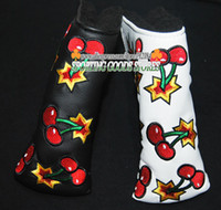 Wholesale New Golf Cover Cherry patterns T Golf Putter HeadCover Black or White Color Putter Clubs Cover
