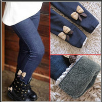 autumn cashmere jeans - New girls bow jeans cotton children cashmere pants kids warm elastic waist legging and retail
