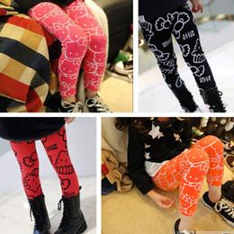 Wholesale 2015 new fashion spring autumn female children kids girls cartoon kitty bear leggings pencil pants boot cut