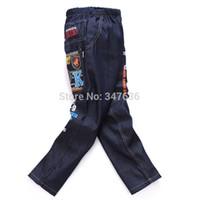 achat en gros de jean jaune pour les garçons-Enfants pantalon de vêtements automne 2015 au printemps pantalon garçon dessin animé Despicable Me film de personne jaune mignon motif de jeans 3-4-5-6-7 filles garçon