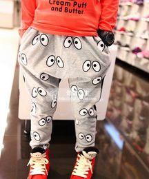 Children pants wholesale eye pattern elastic waist children casual trousers harem pants Free shipping 3-8years