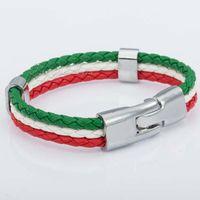 Wholesale 12mm Customized Italy Italian Flag Style Rope Surfer Leather Bracelet Wristband Fashion MENS Womens Jewelry LB141