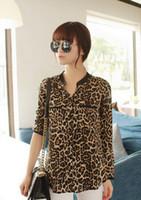 Cheap 2015 New Fashion Women Leopard Print Chiffon Blouses Casual Sexy Blouse Shirt Full Sleeve Blusas Woman Printed Blouse Shirts Top