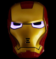 Wholesale No tracking number hot cool Fashion Design Lite up Iron Man Mask Halloween Prop Party Costume Toys