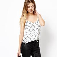 barbed s - new fashion women vest summer women clothing Digital barbed wire pattern printing fine white halter vest