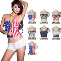 american bustier - 7 Patterns New Spring Crop Tops for Women Girl Fashion American Flag Print Bustier Crop Top Sexy Midriff Tank Top A14410