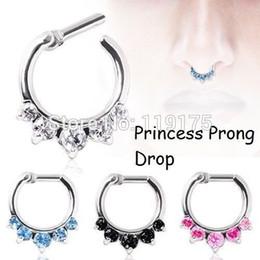 Promotion bijoux de pierres précieuses Nouvelle arrivée ! Princesse à alvéoles Drop Septum Clicker nez Gem CZ nez anneau inox 316L acier bijoux