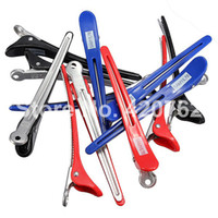 Wholesale 12PCS pack Aluminum Plastic Professional Hairdressing Salon Section Hair Grip Clips Styling Tools New Fashion