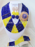 amazing costume jewelry - Amazing Royal blue yellow costume nigerian wedding african beads jewelry set crystal necklaces NC2177