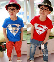 cotton fabric for t-shirt - Summer T shirts For Boys Superman Cartoon Character T shirts Cotton Fabric Short Sleeve Shirt Children T Shirts Minions CT2