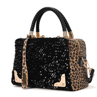 Wholesale 2015 New Women High Quality Leather Sequin Leopard Messenger Crossbody Shoulder Bags Fashion Handbags bolsa feminina