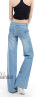 Wholesale 2015 Autumn new loose big yards Slim Flare Jeans Women Wide Leg Jeans