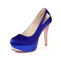 large womens shoes - Large Size Women s Sexy Red Sole Royal Blue High Heels Pumps with Rhinestone Stain for Party Bridals Womens Shoes H