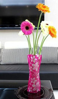Wholesale Big size Healthy Green DIY PVC flower Vase With Foldable design Widely used at home office christmas