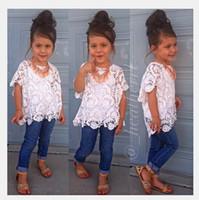 Cheap 2015 new arrival girls clothing set lace dress suit coat + vest + jeans 3pcs set suit fashion kids clothes Sling free shipping