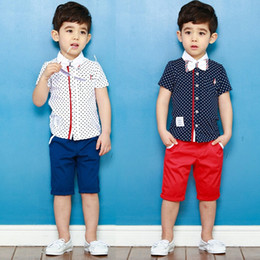 summer New Arrival Boys Sunshine Clothing Sets kids boys Collar Dot Short-sleeve T-shirt+pant two pieces clothing sets
