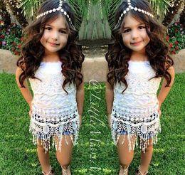 Summer 2pcs set baby girl clothing set new Europe fashion brand sleevesless lace shirt+jeans pants kids clothes set