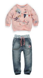 Wholesale Kids autumn fashion clothes for girls Cartoon long sleeved sweater jeans suit grils student clothes NEXT