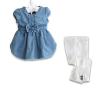 Cheap Summer Baby Girl Denim Suit Child Jeans Shirt Pants 2 Piece Kids Clothes Sets Conjunto Menina Toddler Clothing Children's Wear