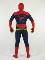 Wholesale New Style Lycra Spandex Spiderman Super Hero zentai unitard Costume S XXXL navy red Unisex