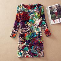 Cheap 2015 women's clothing vintage winter european style dress long-sleeve vestido plus size autumn women print casual dresses 4XL