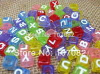 Cheap 2000pcs 6*6mm Multi Translucent With White Alphabet Pony Beads Letter Beads Acrylic Cube Shape Beads For Loom Band Bracelet