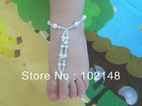 Wholesale Baby s HANDMADE ELASTIC PEARL amp Rhinestone Anklets Baby s barefoot sandals OF VARIOUS Colors PAIR