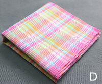 Wholesale 3pcs pack Cotton Handkerchiefs Vintage Hankies Women Mens Pocket Square cm Tartan Check Hankerchiefs