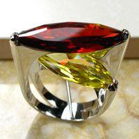 Cheap Huge Garnet Citrine 925 Sterling Silver Ring Size 6 7 8 9 10 R95