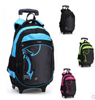 backpacks for middle school - Casual trolley backpack wheels school books children kids bag shoulder backpack with detachable for boys grade class middle