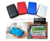 aluminum registers - Womens Mens Aluminum Metal Wallet Business ID Credit Card Case Holder Anti RFID Scanning Free Registered Shipping