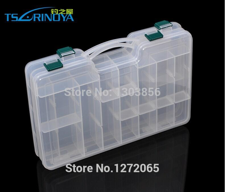 Wholesale-2015 New Double Sided High Strength Visible Fishing Lure Tackle Box Bag Movable Interlayer 29X19X6CM Fishing Tools