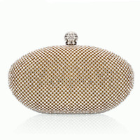 Wholesale Dazzling Oval Crystal Diamante Evening bag Clutch Purse Party Prom Eid Wedding Gold Silver Black