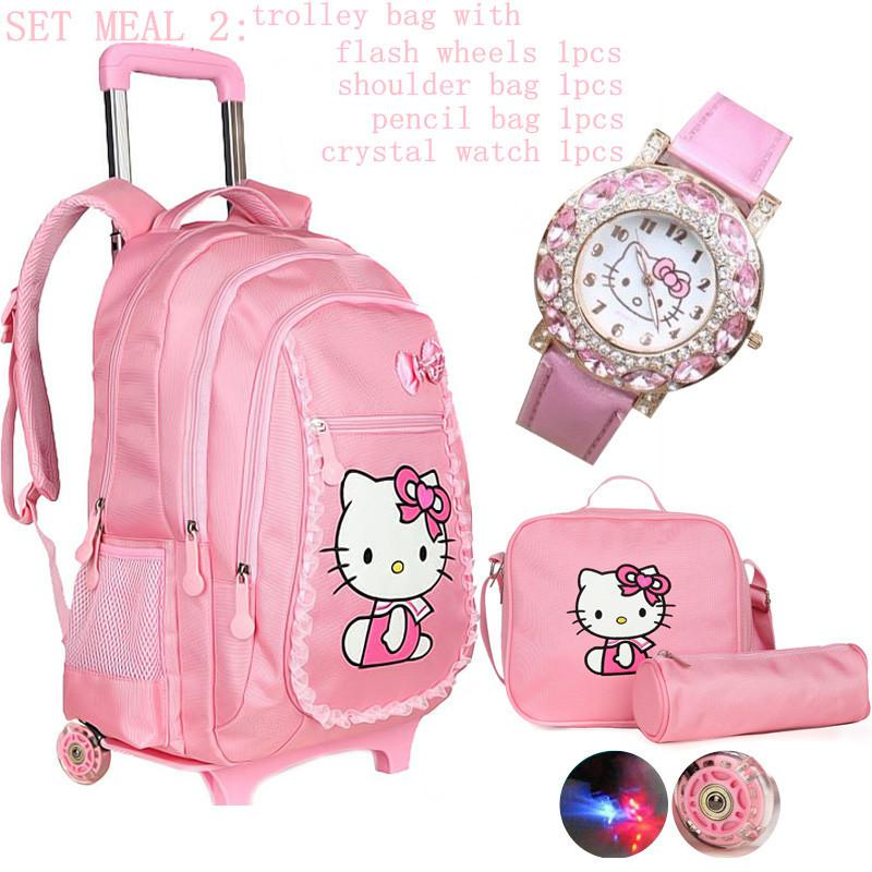 Hello Kitty School Bags For Girls Rolling Children Backpack Travel ...
