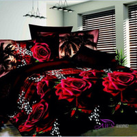 Cheap Wholesale-bed linen set 3D oil printing bedding set FLOWER ROSE Wolf bed clothes 3D wholesale comforter cover bed sheet set pillowcase