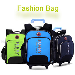 2015 New School Backpack Wheels Nobility School Kids Trolley wheeled school bag Double-Shoulder school bag with wheels for boys