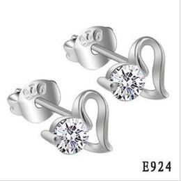 New Fashion 925 Sterling Silver Earrings Heart Shape Simulated Diamond Stud Earring Women's 10pair