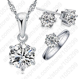Woman's Birthday Gift Wedding Jewelry Set Fashion 925 Sterling Silver Crystal Necklace Ring Earring 3 pcs set Free Shipping