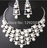 beautiful necklace designs - Beautiful Fashion Design Rhinestone Bridal Pearl Jewelry Set Necklace and Earring Set for Wedding Party Pageant Party J