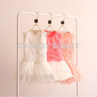 Wholesale New Hot Kids Girls Toddler Princess Rose Flower dress Lace Ruffled Dresses Tutu dress baby clothing