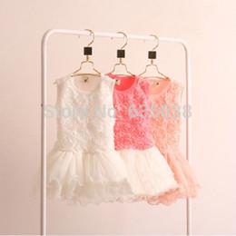 Wholesale New Hot Kids Girls Toddler Princess Rose Flower dress Lace Ruffled Dresses Tutu dress baby clothing