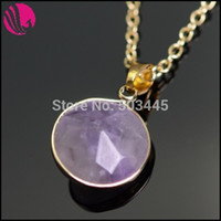 amethyst druzy pendant - Women Fashion Natural Stone Jewelry Boho Pink Sapphire Green Crystal Amethyst Druzy Quartz Colares Necklace Pendant Wedding