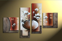 beautiful art paintings - 4 Pieces Large Beautiful White Flower Canvas Paintings Handpainted Modern Abstract Oil painting Home Living Room Decor Wall Art DGR63