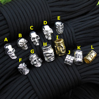 Wholesale Paracord Beads Metal Charms Skull For Paracord Bracelet Accessories Survival DIY Pendant Buckle for Paracord Knife Lanyards