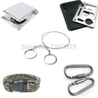 Wholesale 5 SET Steel Wire Paracord Bracelet Saw Scroll outdoor camping Travel Kit Carabiner Card Blanket Survival Emergency tool
