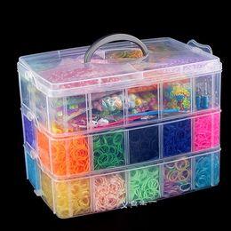 Pulseras al por mayor del juguete-regalo Kits de diversión Gomas del kit de bricolaje / Rainbow Rubberbands con 'S' clips + ganchillo + Color de los granos / Big Caso AA880 desde banda de goma al por mayor del kit de pulsera fabricantes