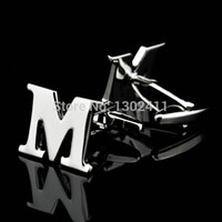 men shirts and ties - MICHAEL M letter Cufflinks Promotion Gift for Men Letters Initial Name Logo Cuff Links Brass Links of Cuff French Shirt